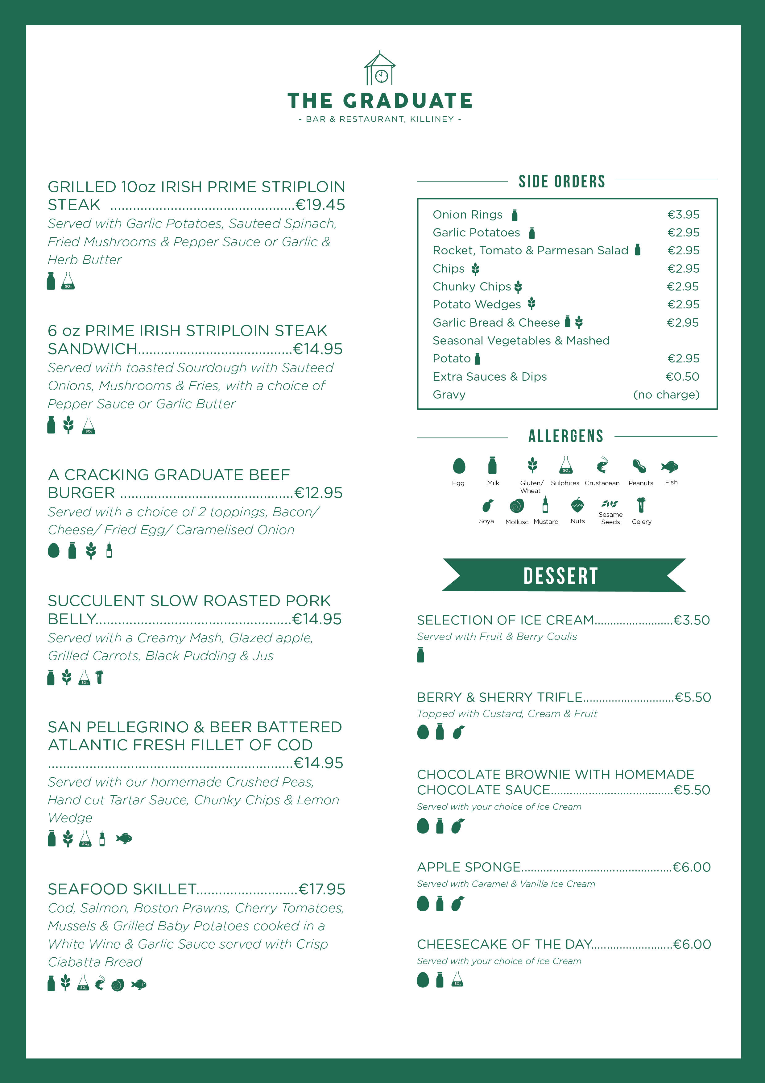 The Graduate Bar and Restaurant Evening Menu